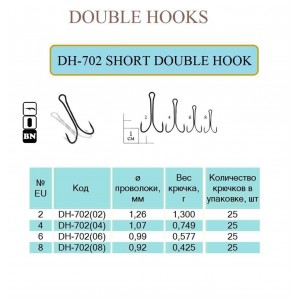 Крючок SHORT DOUBLE HOOK  (Ring, BN) 50 шт. #2