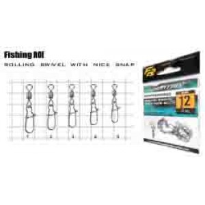 Вертлюг с карабином Fishing ROI Impressed rolling swivel with nice snap №12